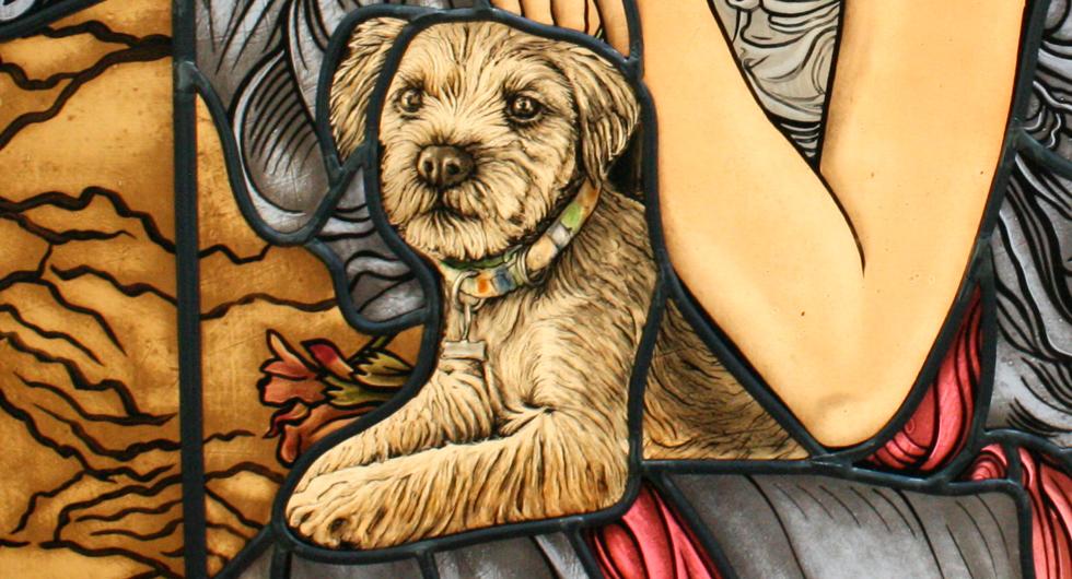 Hochwertige Glasmalerei Border Terrier, Bleiverglasung