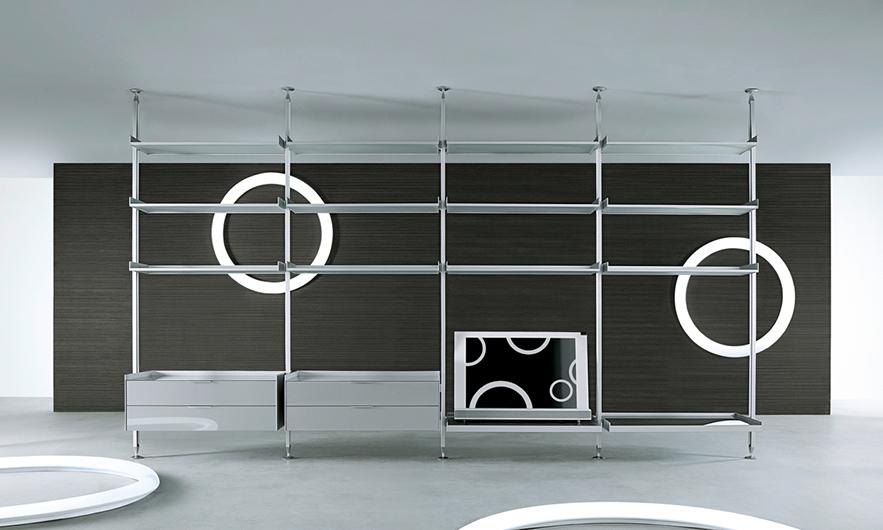 Zenit Schranksystem von Rimadesio - neuartiges Anbausystem mit Aluminiumpfosten, Regalelementen und Schränken mit Schubladen.