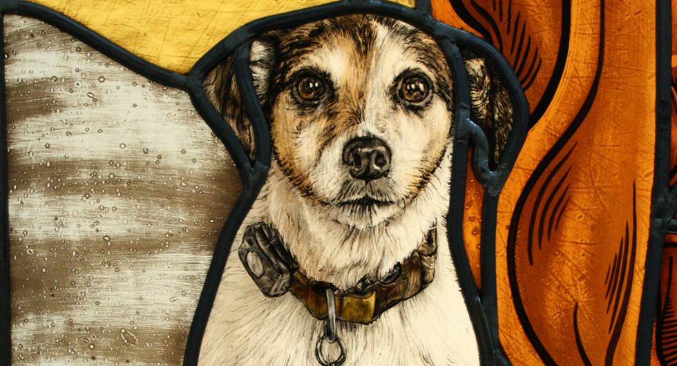 Hochwertige Glasmalerei Jack Russel Terrier, Bleiverglasung