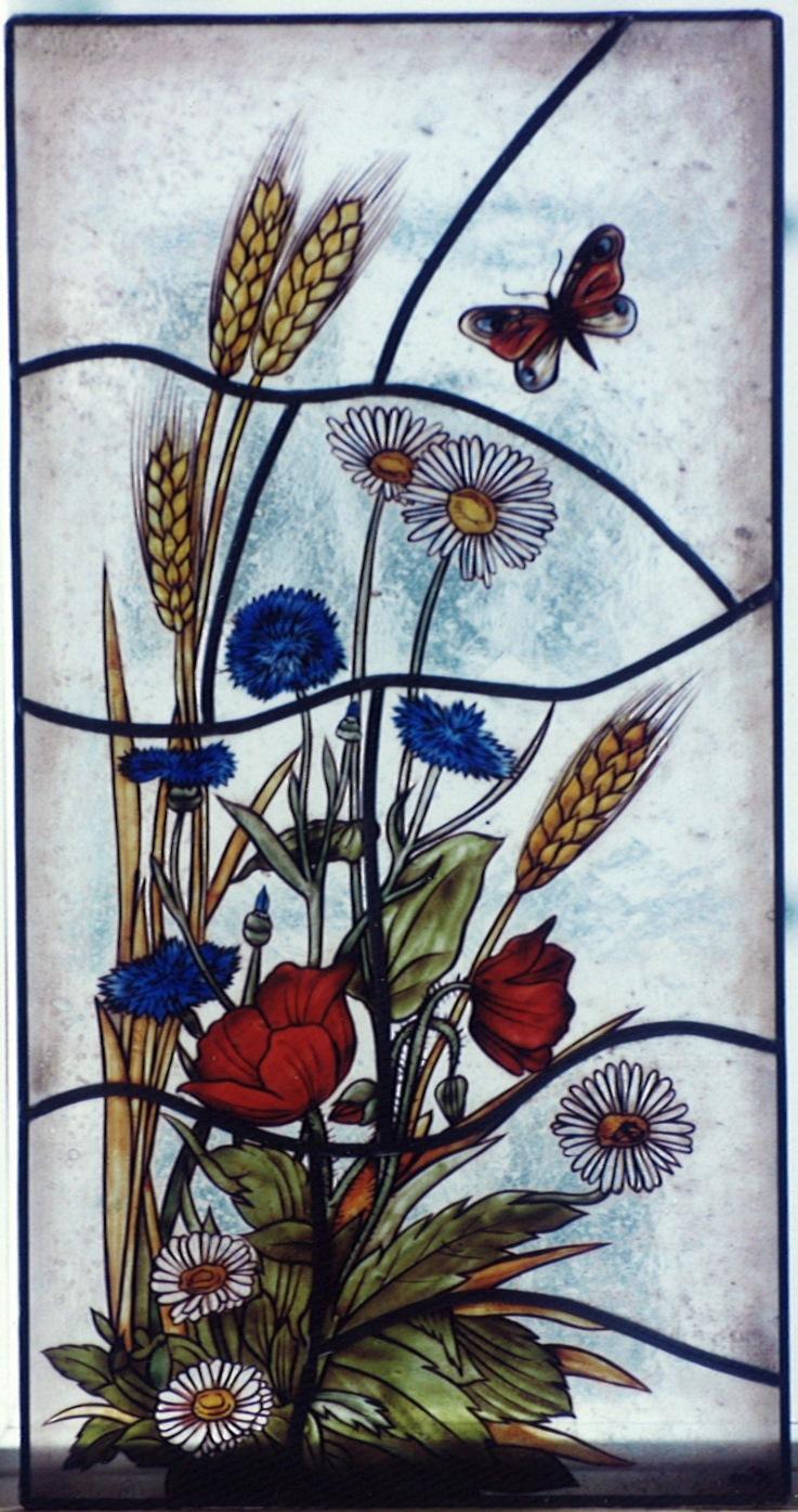 Hochwertige Glasmalerei auf Echtantikglas, Motiv Feldblumenstrauß als Fensterbild oder Schmuckscheibe