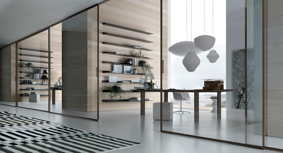 Exklusives Designer Regalsystem Eos von Rimadesio aus lackiertem Glas und Aluminiumrahmen. Mit integriertem Beleuchtungssystem.