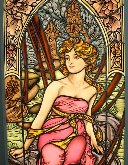 Hochwertige Glasmalerei Der Morgen, nach Alfons Mucha, Jugendstil, Bleiverglasung