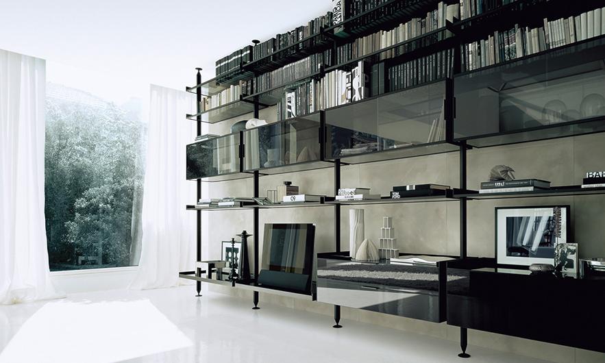 Zenit Schranksystem von Rimadesio - neuartiges Anbausystem mit Aluminiumpfosten - individuell planen.