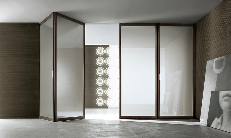 Siparium von Rimadesio als Glasfalttür und Raumteiler.