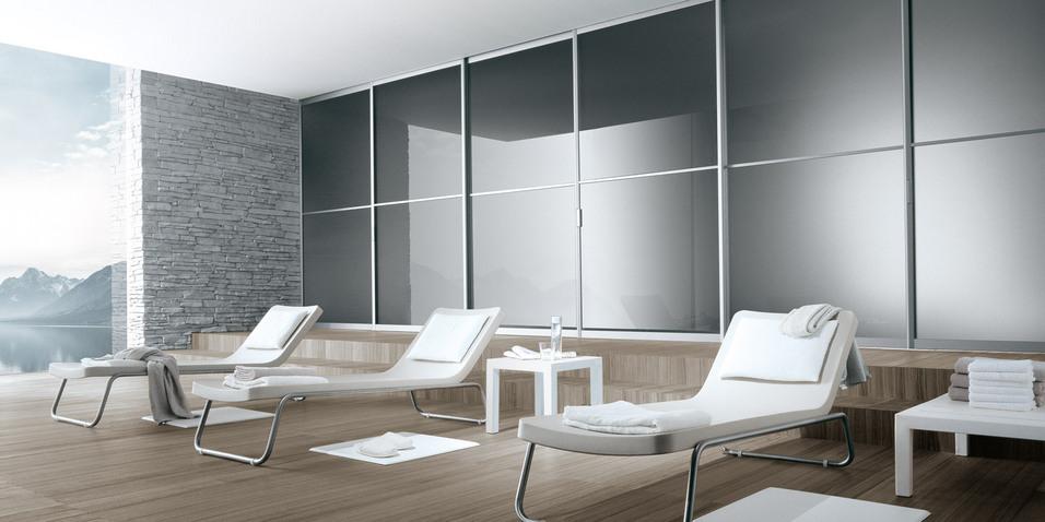 Siparium von Rimadesio kann als Schiebetür oder Falttür genutzt werden. Auch als Raumteiler nutzbar.