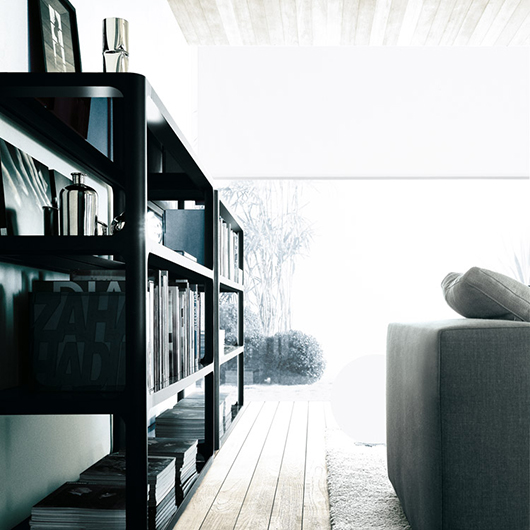 Exklusives Regal Sixty von Rimadesio - italienisches Design und eine subtile Referenz an die sechziger Jahre - Einrichtungsbeispiel.