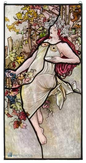 Individuelle Glasmalerei mit Jugendstilmotiv nach Alfons Mucha Vier Jahreszeiten, Herbst