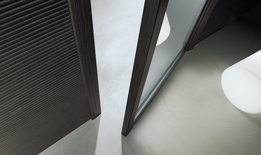 Quadrante, exklusive Design-Drehflügeltür aus Glas von Rimadesio.