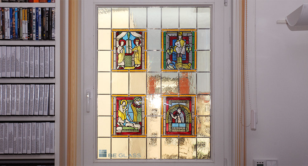 Rekonstruktion von mittelalterlicher Glasmalerei, 4 Motive nach Meister Gerlach als Türverglasung