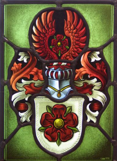 Individuell angefertigte Familien-Wappen als exklusive Bleiverglasung mit aufwendiger Glasmalerei. Handgemalt auf Echtantikglas.