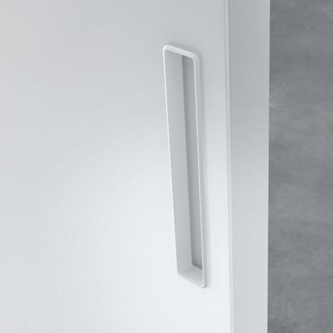 Graphis plus Glasschiebetür-System von Rimadesio aus weiß lackiertem Glas und Aluminium Profilen als Raumteiler, Detailansicht Griff