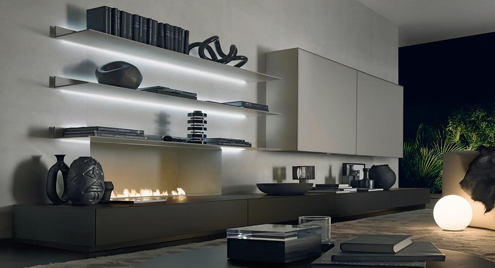 Exklusives Regalsystem Eos von Rimadesio aus lackiertem Glas, Aluminiumrahmen und integriertem Beleuchtungssystem.