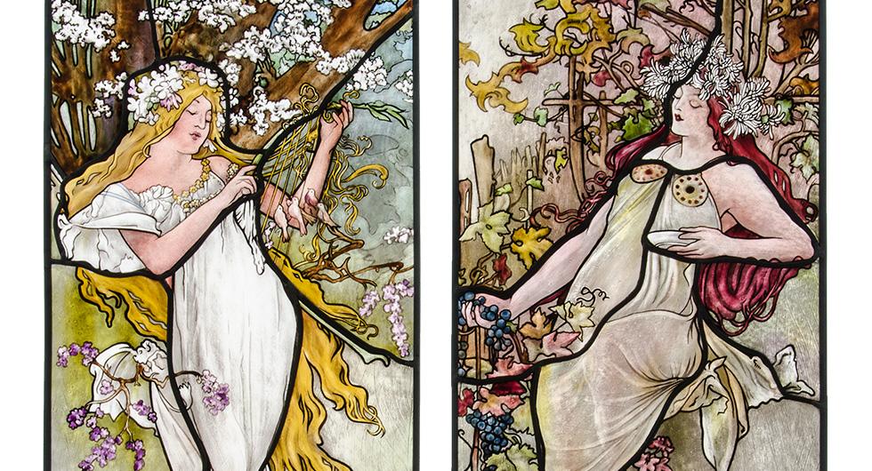 Detailansicht Glasmalerei mit Jugendstilmotiven nach Alfons Mucha Vier Jahreszeiten, Frühling und Herbst