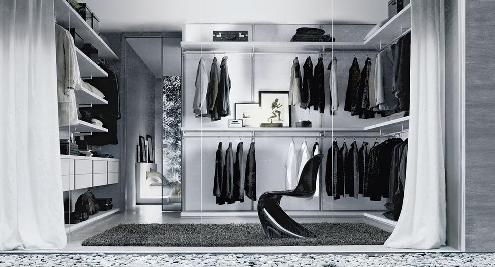 Begehbare Schränke - Designer Ankleidesystem Dress Bold von Rimadesio. Reihen-, Eck- oder C-Anordnung möglich.