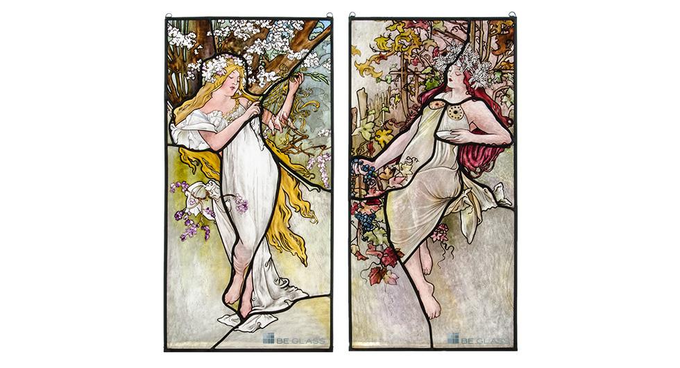 Glasmalerei mit Jugendstilmotiven nach Alfons Mucha, Frühling und Herbst als Raumteiler oder Fensterschmuckscheibe