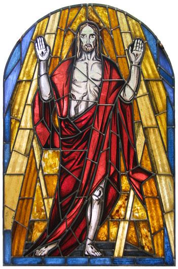 Expressionistisches Auferstehungsfenster für St. Georg Frankfurt Oder. Individuell gefertigte Bleiverglasung und Glasmalerei