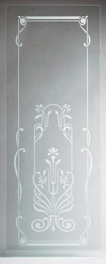 Mattiertes Glas mit floralem Motiv für Türen und Fenster, Glasscheibe klar transparent mit fein Sandstrahl-mattiertem Motiv