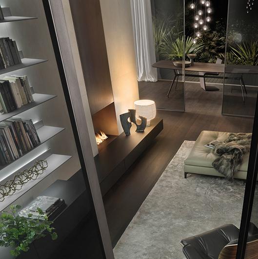Abacus Living von Rimadesio - ein Schranksystem aus lackiertem Glas mit LED Beleuchtungssystem, Glasschränken und Konsolen.
