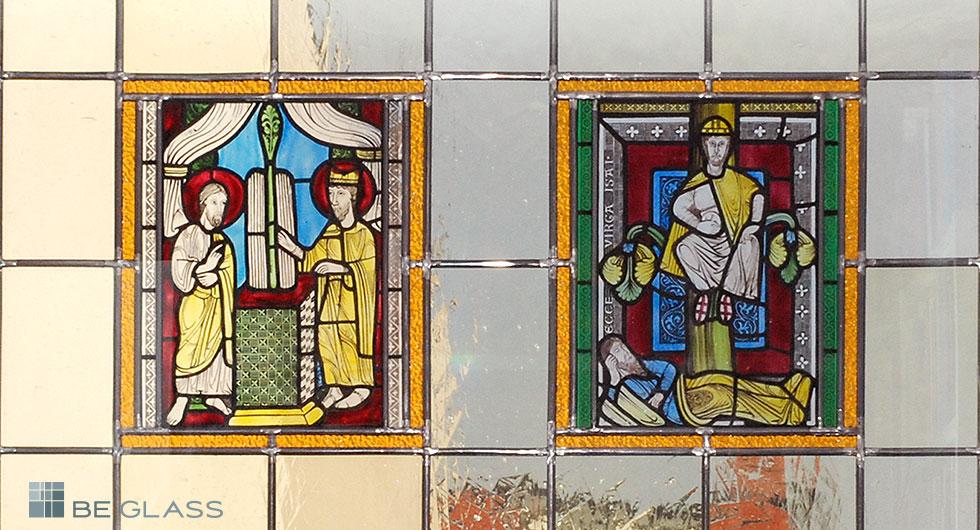 Detailansicht zwei mittelalterliche Motive, hochwertige Glasmalerei nach Meister Gerlach als Türverglasung