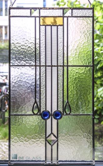 Kristall Fensterbild aus Echt-Tischkathedralglas, Ornamentgläsern und Glasprismen