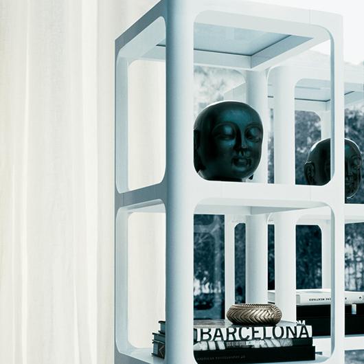 Exklusives Regal Sixty von Rimadesio - italienisches Design und eine subtile Referenz an die sechziger Jahre.