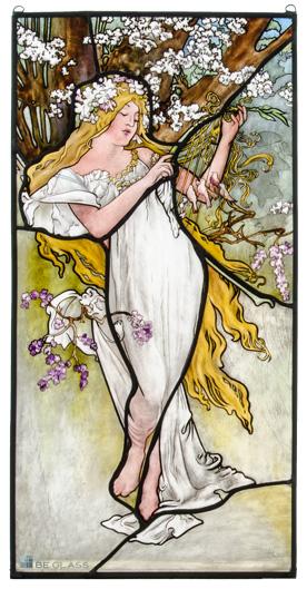 Individuelle Glasmalerei mit Jugendstilmotiv nach Alfons Mucha Vier Jahreszeiten, Frühling