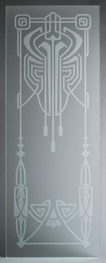 Glasscheibe mit 3-Stufen-Mattierung. Motiv Cafe Paris im Art Deco Stil. Für Innentüren oder Fenster.