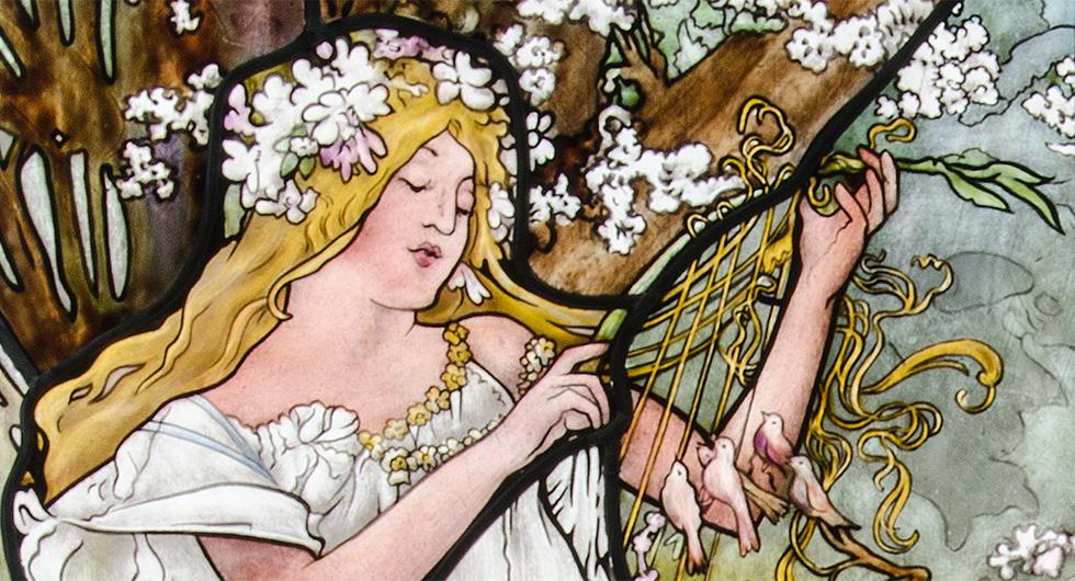 Detailansicht der Glasmalerei mit Jugendstilmotiv nach Alfons Mucha Vier Jahreszeiten, Frühling
