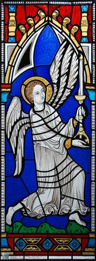 Hochwertige Glasmalerei auf Echtantikglas Motiv gotischer Engel, hergestellt nach einem Original Entwurf