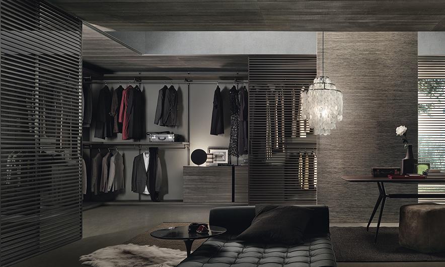 Begehbarer Schrank - Ankleidesystem Dress Bold von Rimadesio. Einrichtungsbeispiel