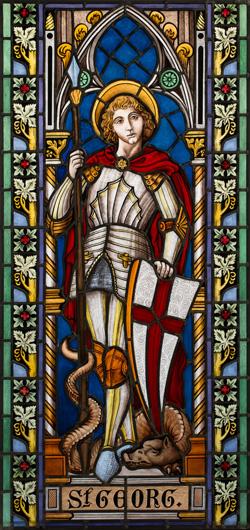 Hochwertige Glasmalerei auf Echtantikglas, Motiv St. Georg mit dem Drachen, Bleiverglasung