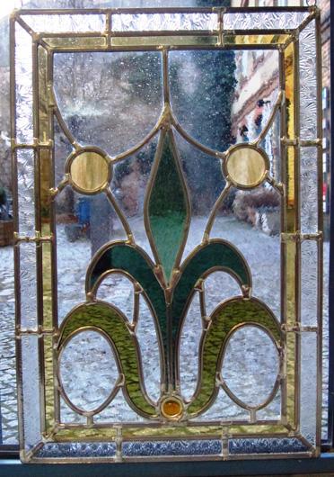 Bleiverglasung Art Floral als Fensterbild ca. 34 x 51 cm aus Echtantikglas, Coloreszentglas, Ornamentglas und Glasprismen