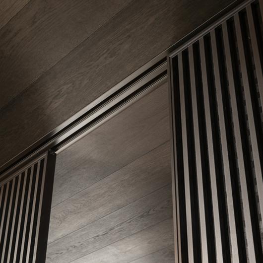 Daimon Glasschiebetür - Glasschiebesystem von Rimadesio - Detailansicht des Systems
