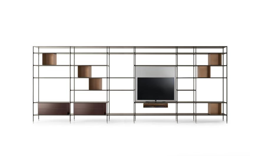 Bild-Eigentümer: Rimadesio SpA, Wind, modulares Bücherregal, freistehende Variante mit Fernseher, Design by Giuseppe Bavuso