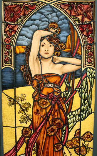 Hochwertige Glasmalerei Der Mittag, nach Alfons Mucha, Jugendstil, Bleiverglasung