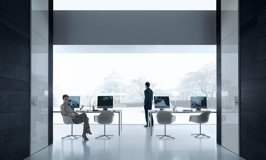Flat von Rimadesio - Designer Tische für Büros und Tagungsräume mit Kabeldurchführung.