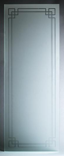 Mattierte Glasscheibe mit transparentem, klarem klassischen Motiv, für Innentüren oder Fenster.