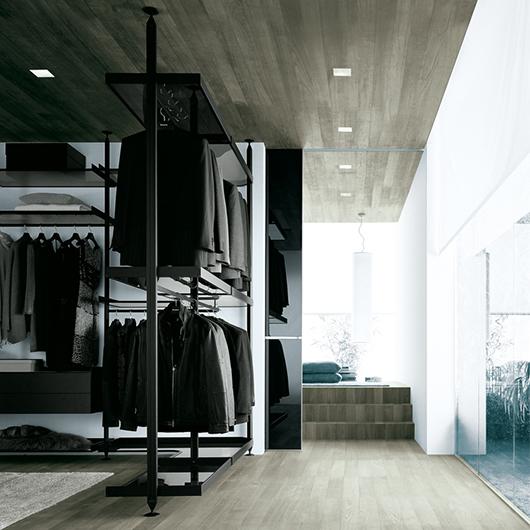 Zenit Kleiderschränke, Ankleidesysteme von Rimadesio. Gestaltungsvorschlag in dunkler Ausführung für Regalelemente, Kleiderstangen und Schubladen.
