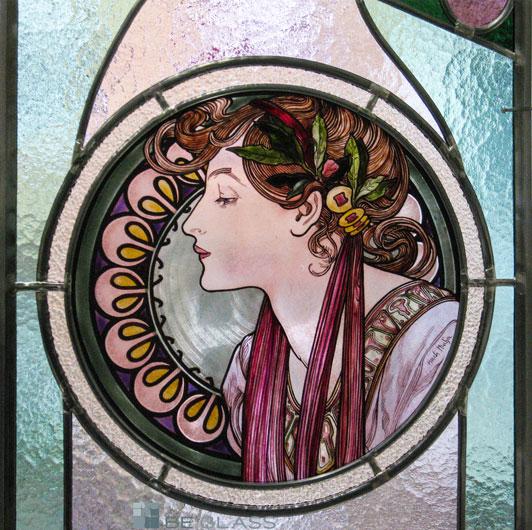 Glasmalerei Motiv Lorbeer nach Alfons Mucha, Jugendstil, als Fensterverglasung oder Raumteiler