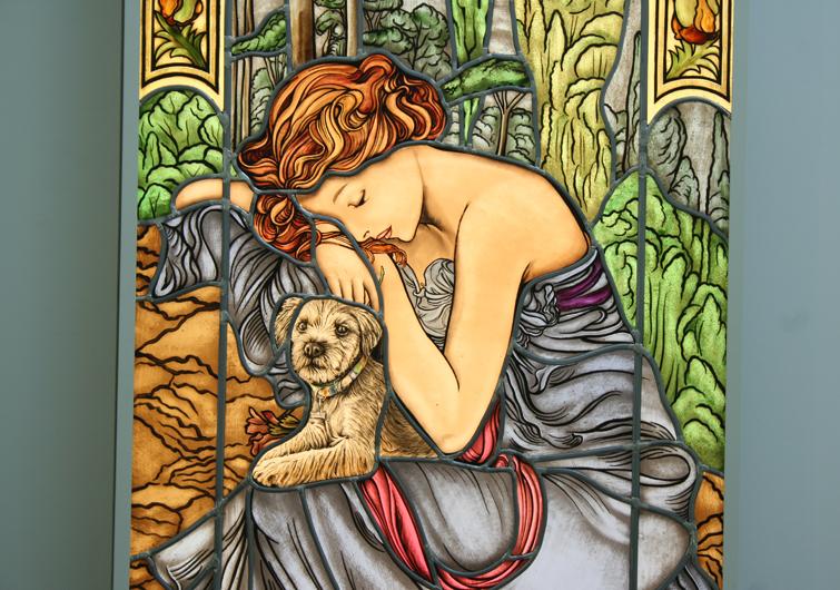 Hochwertige Glasmalerei Die Nacht, nach Alfons Mucha, Jugendstil, Bleiverglasung