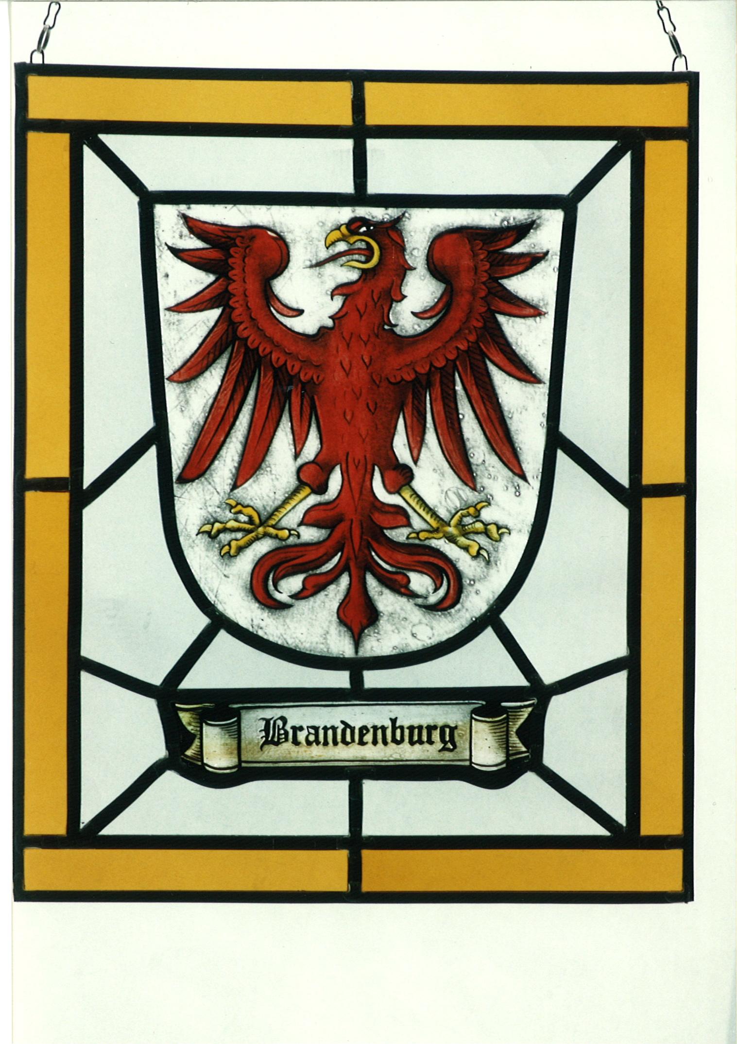 Landeswappen Brandenburg als Fensterbild. Hochwertige Glasmalerei individuell angefertigt auf Echtantikglas.