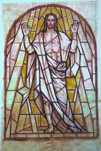Original Entwurf für das expressionistische Auferstehungsfenster der St. Georg Frankfurt Oder.