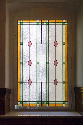 Bleiverglasung Design Ovale als Fensterverglasung aus Echt-Tischkathedralglas und Ornamentglas