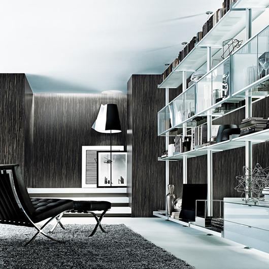 Zenit Schranksystem von Rimadesio - neuartiges Anbausystem mit Aluminiumpfosten, Regalelementen und Glasschränken.