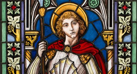 Detailansicht der Bleiverglasung mit Glasmalerei, auf Echtantikglas, Motiv St. Georg mit dem Drachen